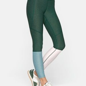 Outdoor Voices 7/8 Leggings Green Pink Colorblock